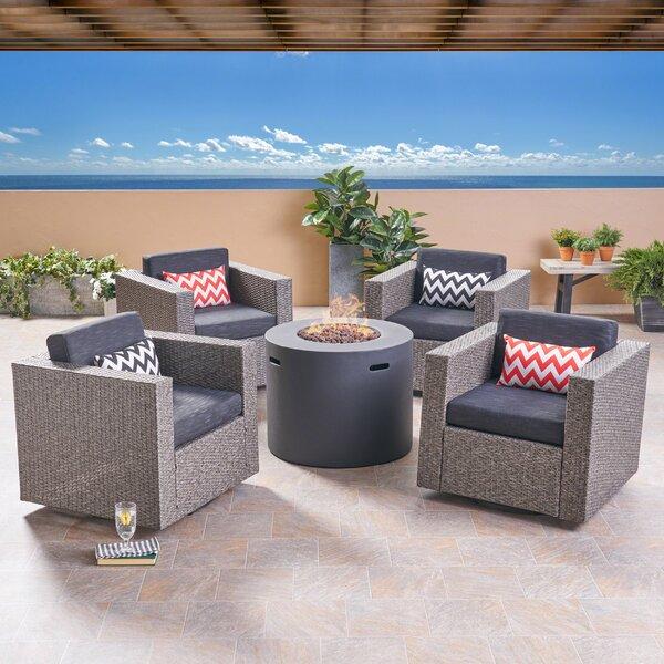 Aarhus Outdoor 5 Piece Rattan Sofa Seating Group with Cushions by Brayden Studio