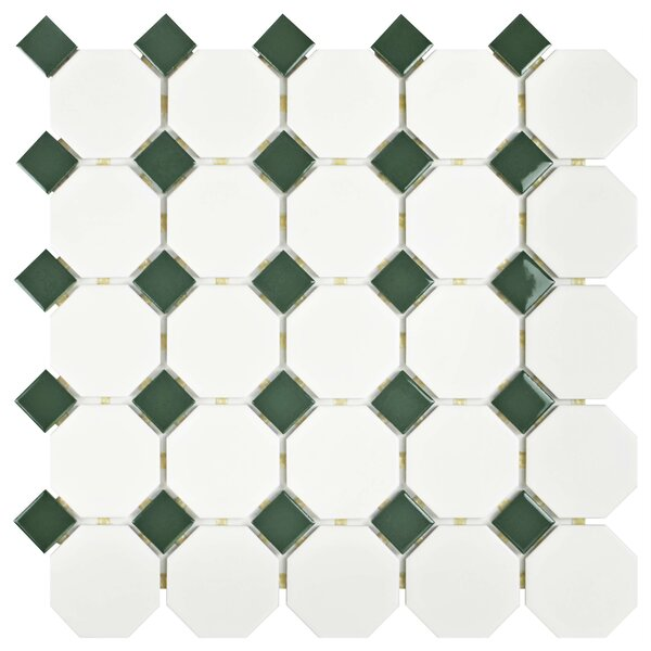 Retro Random Sized Porcelain Mosaic Tile in Matte White/Green by EliteTile