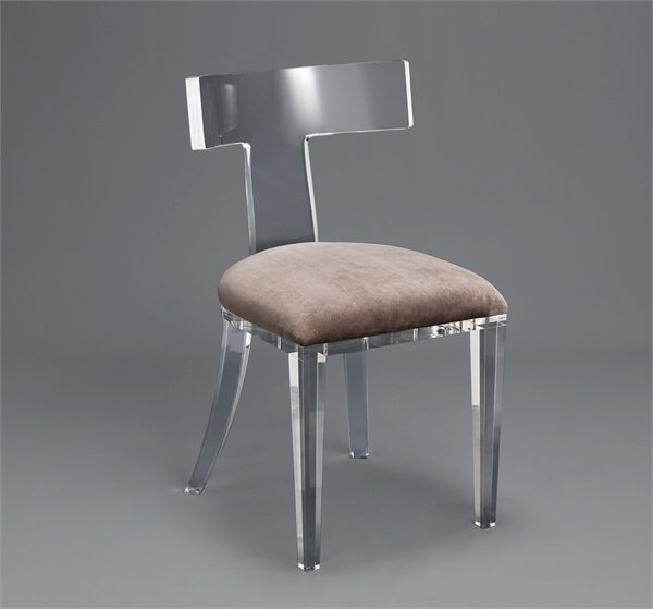 Tristan Velet Upholstered Side Chair In Clear/Gray By Interlude