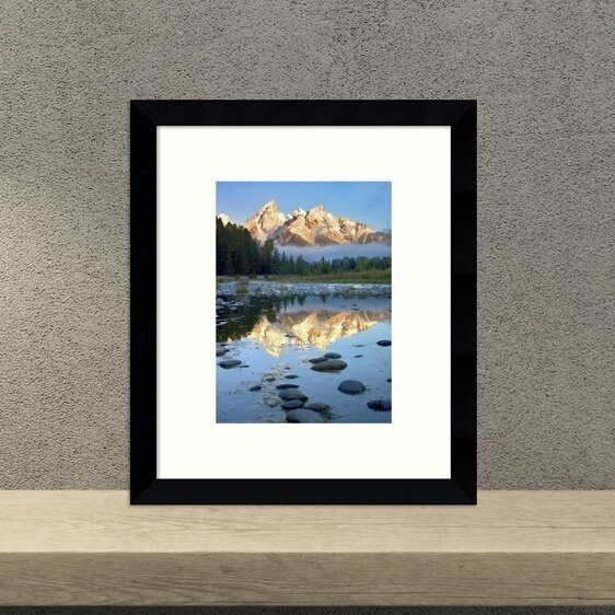 Grand Tetons Reflected in Water, Grand Teton National Park, Wyoming Framed Photographic Print by Loon Peak