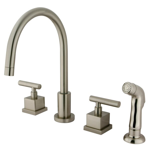 Claremont Double Handle Widespread Kitchen Faucet with Plastic Sprayer by Elements of Design