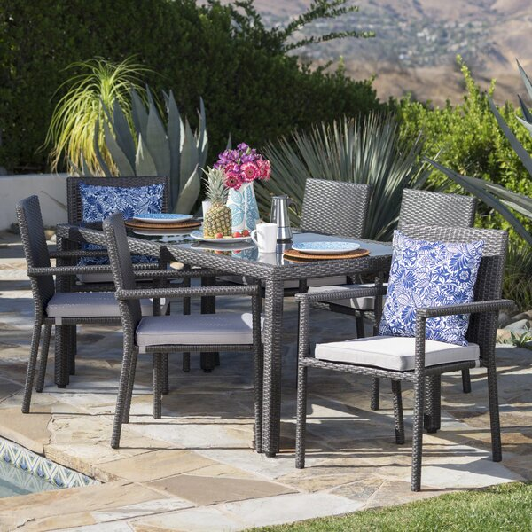 Carlena Outdoor 7 Piece Dining Set with Cushions by Ivy Bronx