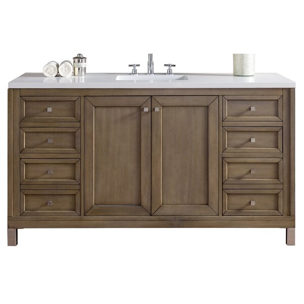 Valladares 60 Single White Washed Walnut Wood Base Bathroom Vanity Set by Brayden Studio