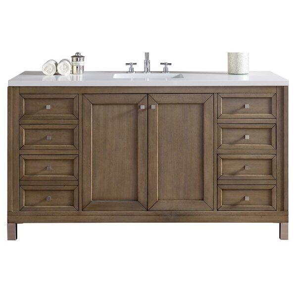 Valladares 60 Single White Washed Walnut Wood Base Bathroom Vanity Set by Brayden Studio