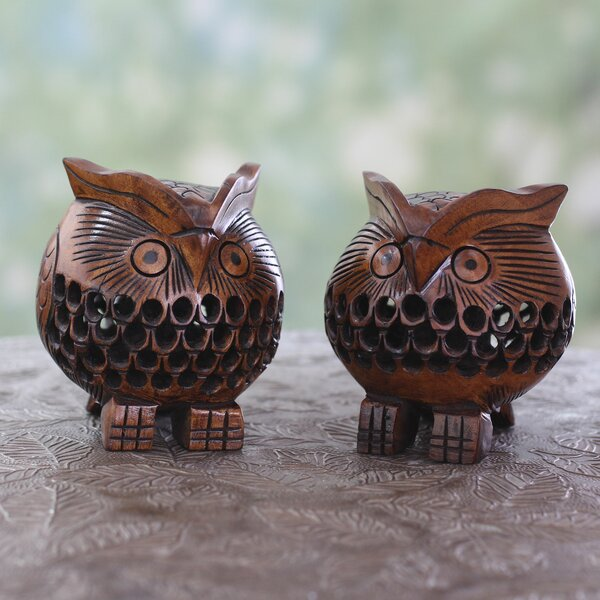 Wood Owl Figurine (Set of 2) by Novica