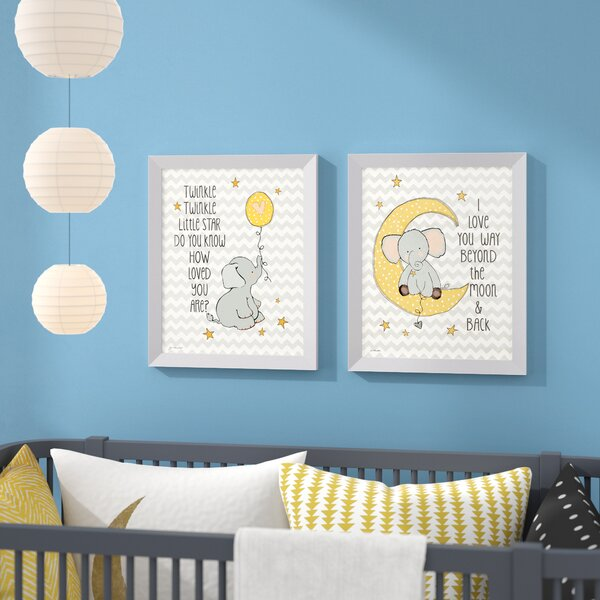 Dishon Twinkle Love and Two the Moon on Chevron Framed Paper Print by Harriet Bee