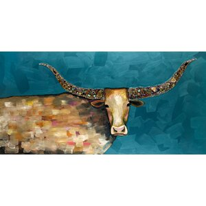 'Longhorn Geode on Blue' by Eli Halpin Painting Print on Canvas by GreenBox Art