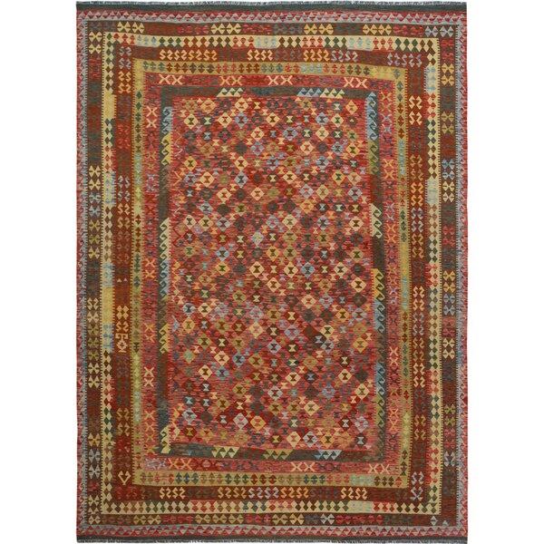 Manhattan Handmade-Kilim Wool Red/Brown Area Rug by Isabelline