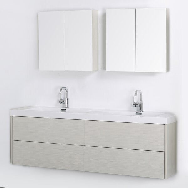 63 Wall-Mounted Double Bathroom Vanity Set with Mirror by Streamline Bath