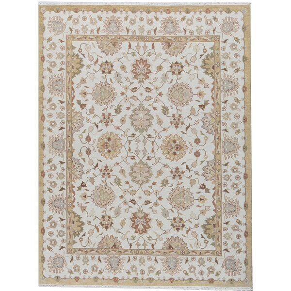 Oriental Hand-Knotted Wool Ivory Area Rug