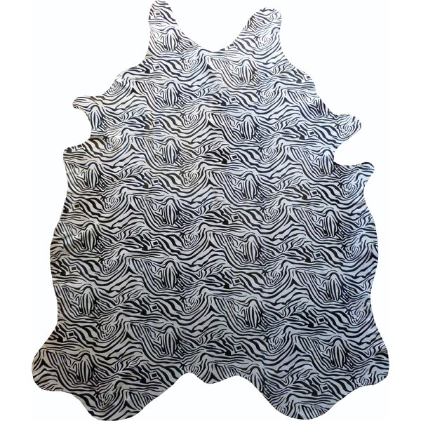 Stenciled Baby Zebra Brazilian Cowhide Black/White Area Rug by Chesterfield Leather