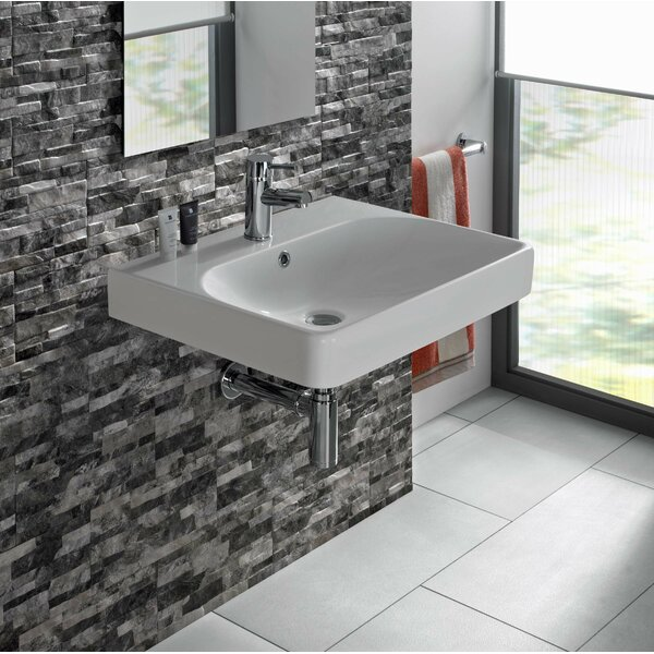 Smyle Vitreous China 24 Wall Mount Bathroom Sink with Overflow by Bissonnet