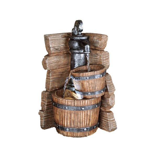 Resin Double Barrel Fountain with Light by OK Lighting
