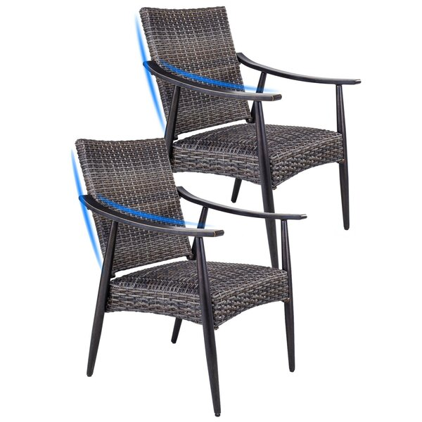 Patio Garden Wicker Dining Chairs Indoor Outdoor Rattan Arm Chairs Set Of 2 (Set of 2) by Bay Isle Home