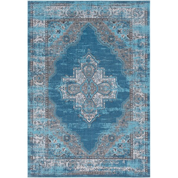 Sharpes Teal/Medium Gray Area Rug by Bungalow Rose