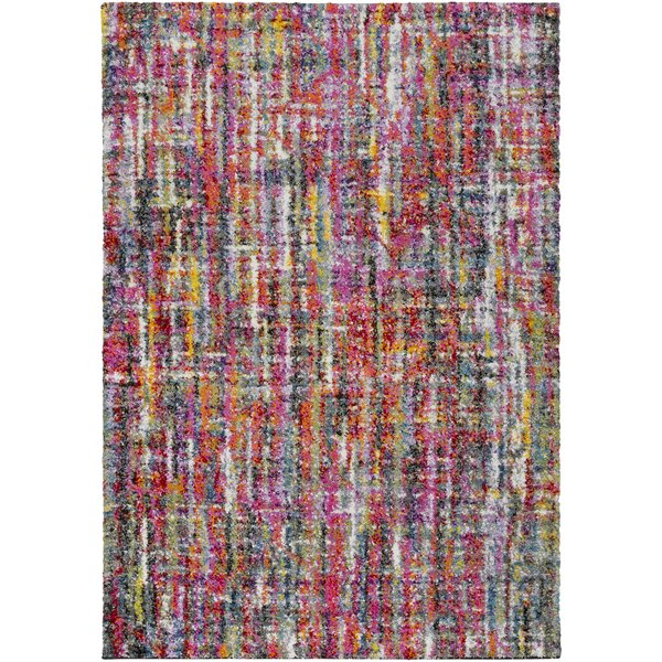 Dorchester Bright Pink/Medium Gray Abstract Area Rug by Ebern Designs