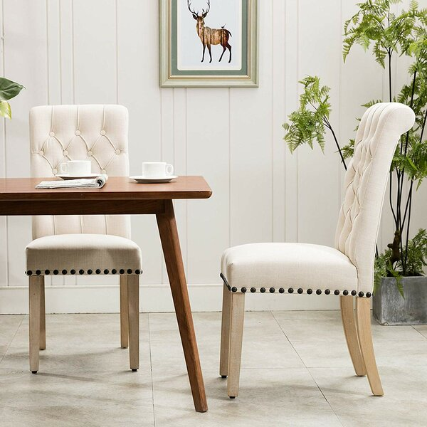 Roberto Tufted Linen Upholstered Parsons Chair (Set of 2) by Canora Grey Canora Grey
