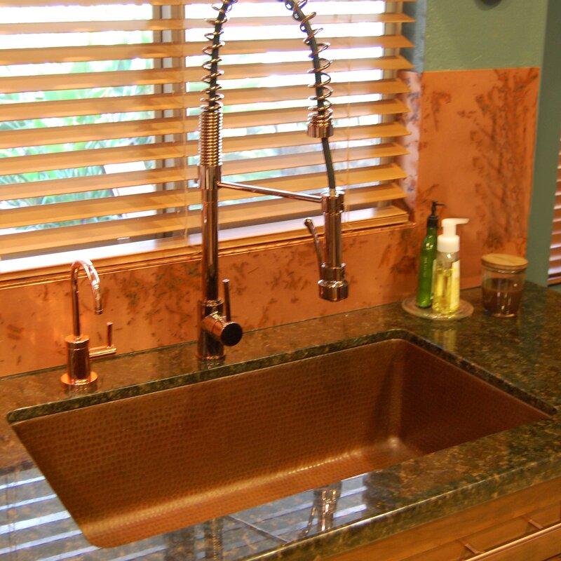 33   x 19   antique hammered single bowl kitchen sink premier copper products 33   x 19   antique hammered single bowl      rh   wayfair com