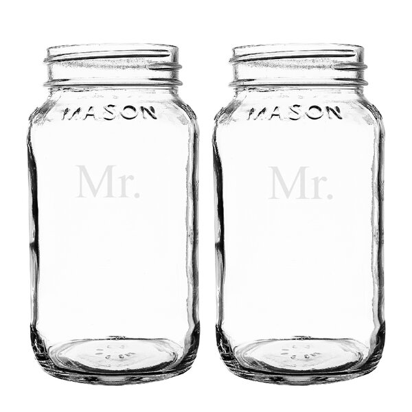 Mr. and Mr. 26 oz. Mason Jar (Set of 2) by Cathys Concepts