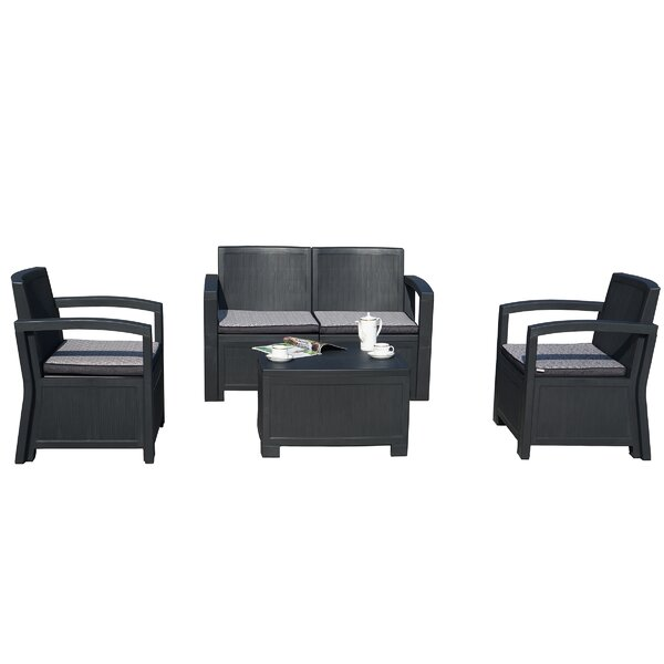 Alsiha 4 Piece Sofa Seating Group with Cushions by Latitude Run