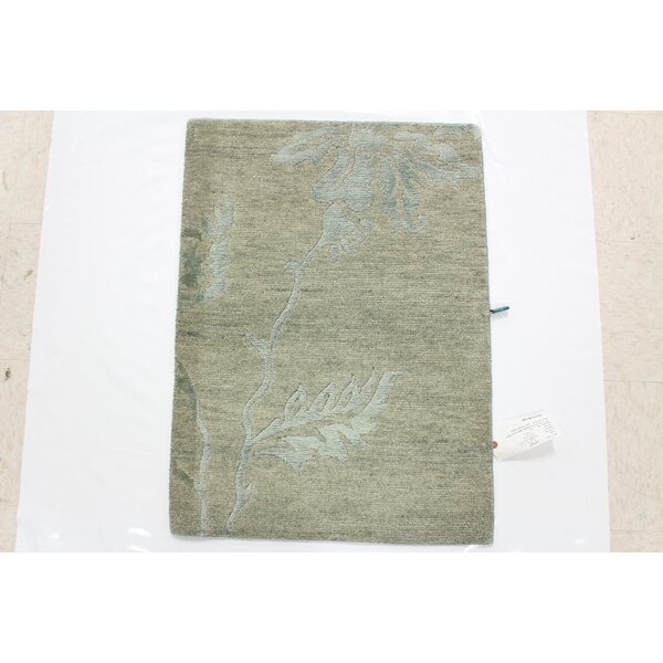 One-of-a-Kind Crewkerne Hand-Knotted Wool Light Green Area Rug by Isabelline