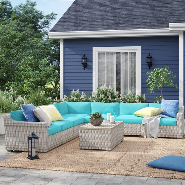 Falmouth 8 Piece Rattan Sectional Seating Group with Cushions by Sol 72 Outdoor