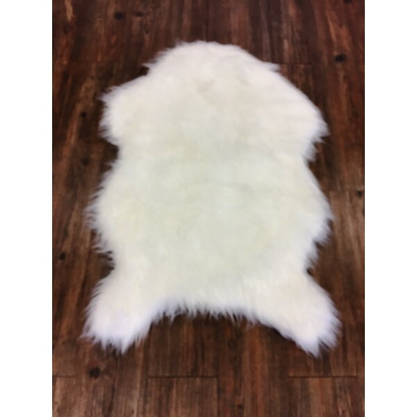 Heiman Faux Fur Ivory Indoor Area Rug by Mercer41