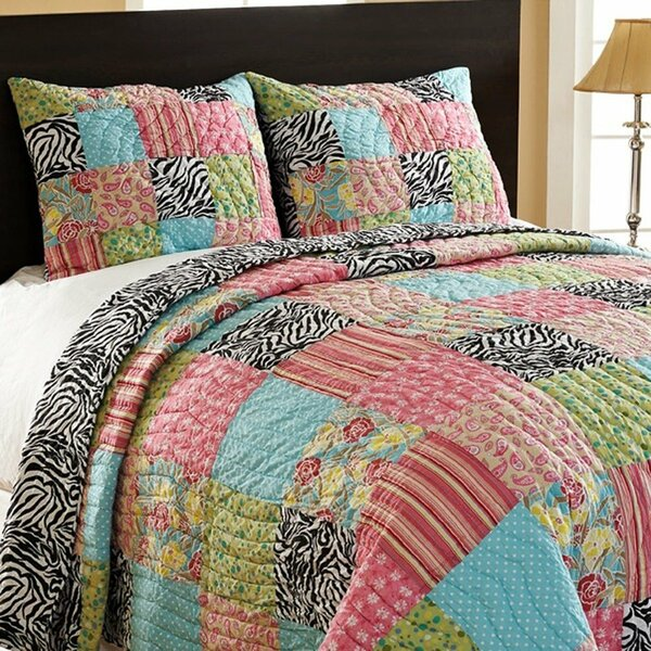 Zebra Multi-patchwork Quilt, King Set
