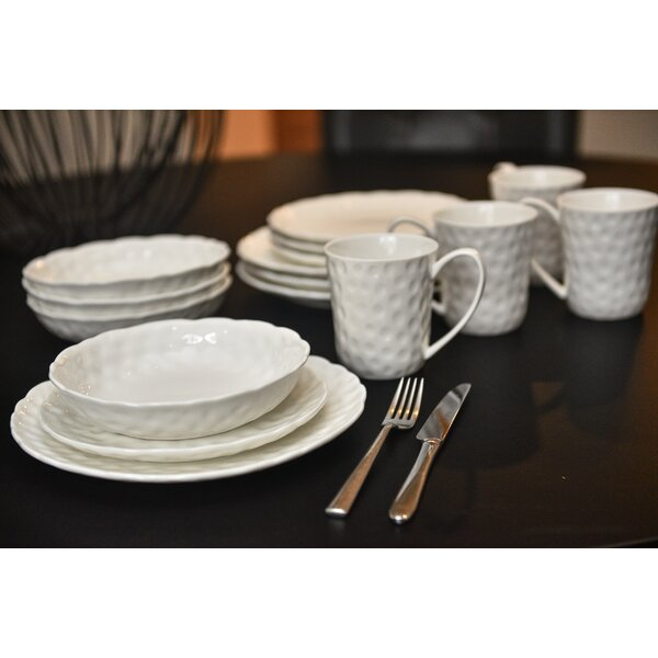 Vanilla Marble Wingfield 16 Piece Dinnerware Set, Service for 4 by Birch Lane™