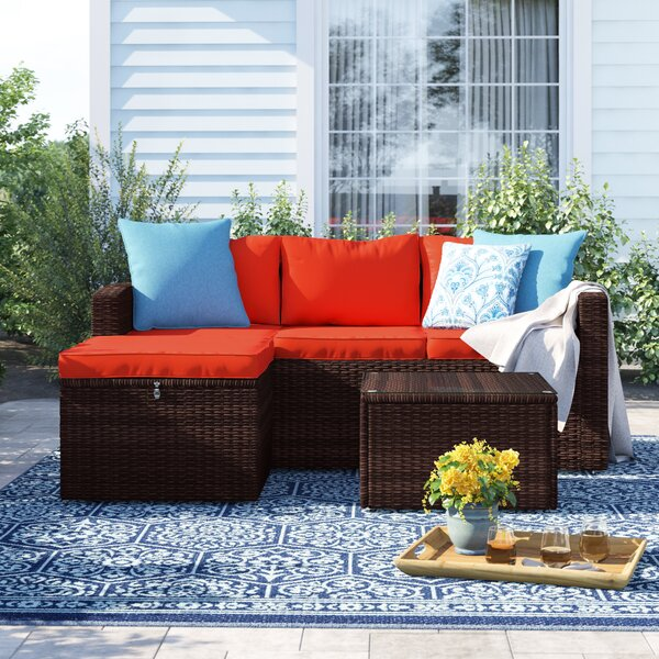 Arlington 3 Piece Rattan Sectional Seating Group with Cushions by Sol 72 Outdoor