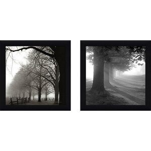 Misty Trees' 2 Piece Framed Photographic Print Set Under Glass by Wrought Studio