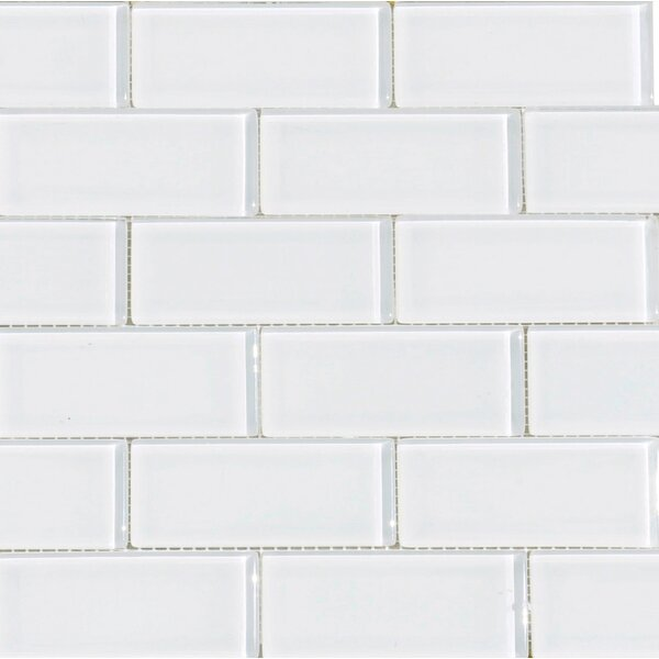 2 x 4 Glass Subway Tile in Snow by The Bella Collection