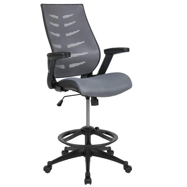 Bertine High Back Spine-Back Ergonomic Fabric Drafting Chair