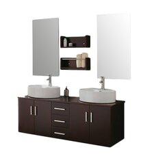 """59"""" Double Bathroom Vanity Set with Mirror"""