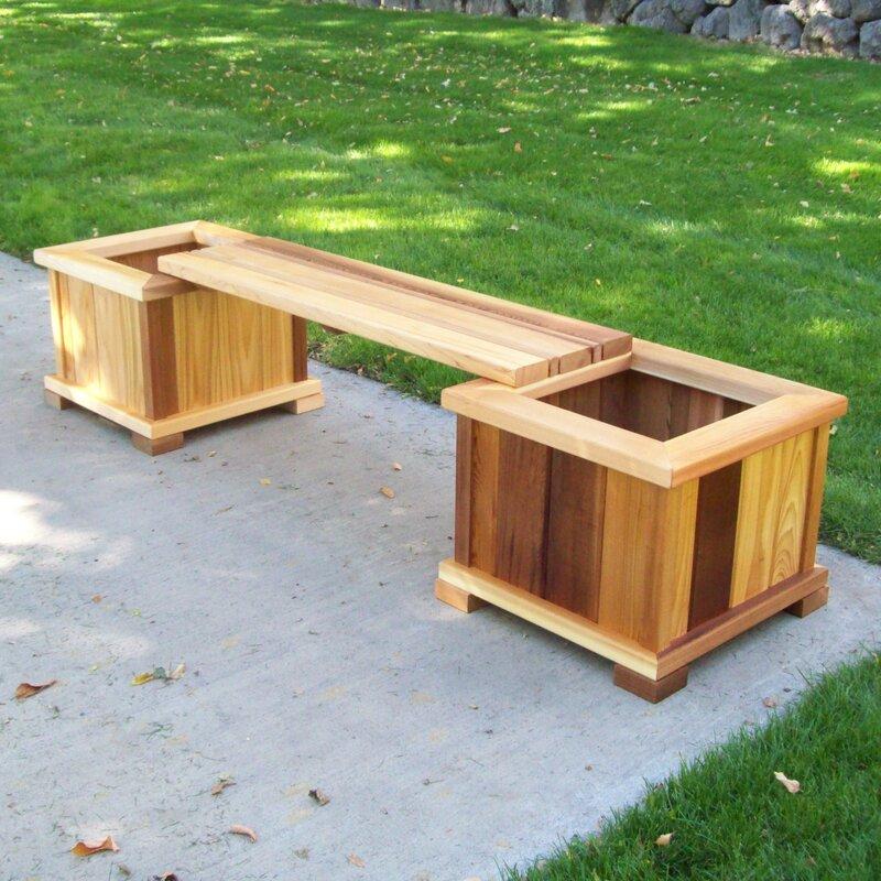 August Grove Camdenton Wooden Planter Bench Reviews Wayfair Ca