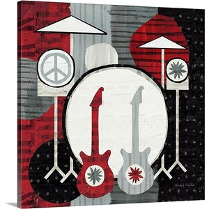 'Rock 'n Roll Drums' by Michael Mullan Painting Print on Wrapped Canvas by Great Big Canvas