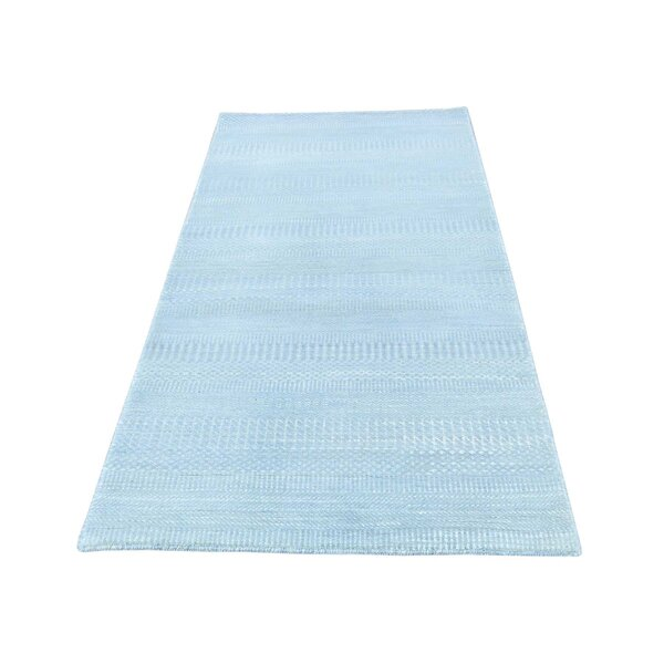 One-of-a-Kind Marcum Hand-Knotted Sky Blue Area Rug by Ivy Bronx