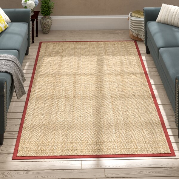 Eldert Natural Fiber Hand-Woven Brown/Tan/Red Area Rug by Charlton Home