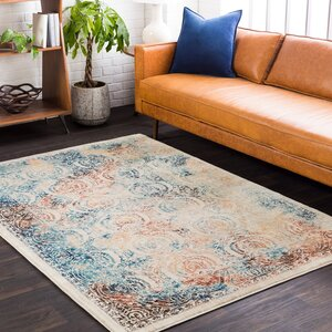 De Funiak Springs Aqua/Burnt Orange Area Rug