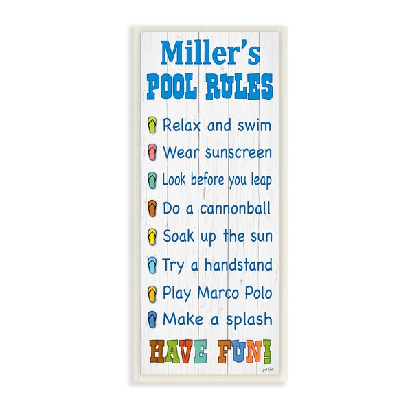 Personalized Pool Rules with Sandals Skinny Textual Art Plaque by Stupell Industries