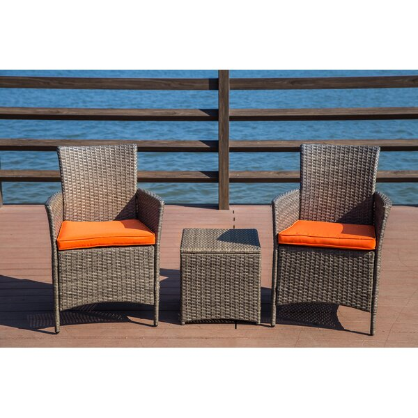 Mike 3 Piece Rattan 2 Person Seating Group with Cu