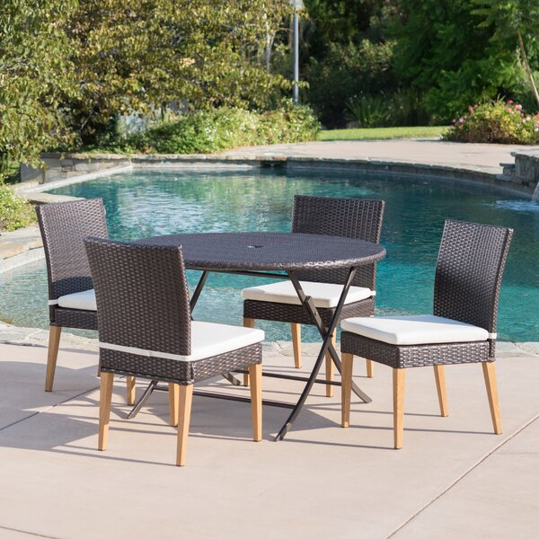 Catalano Outdoor Wicker 5 Piece Dining Set with Cushions by Ivy Bronx