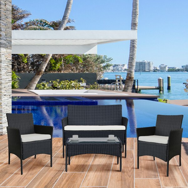 Michaux 4 Piece Rattan Sofa Seating Group with Cushions by Latitude Run