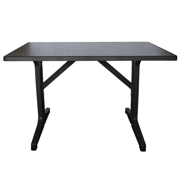 Omega 45x28 Complete Resin Table in Dark Concrete (Set of 2) by Grosfillex Expert