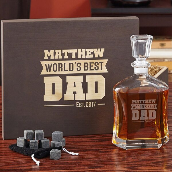 Livingon Worlds Best Dad 3 Piece Decanter Set by Darby Home Co