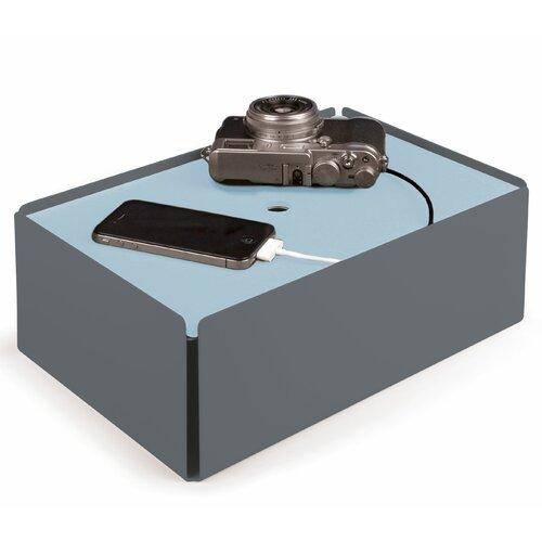 Kabelbox aus Stahlblech / Leder ClearAmbient Farbe: Fehgrau / Hellblau | Baumarkt > Elektroinstallation > Weitere-Kabel | ClearAmbient