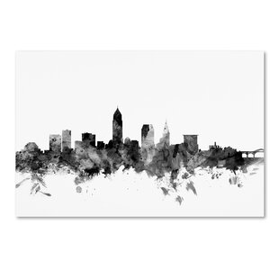 Cleveland Ohio Skyline B&W Graphic Art on Wrapped Canvas by Latitude Run