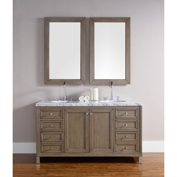 Valladares 60 Double White Washed Walnut Bathroom Vanity Set by Brayden Studio