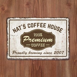 Personalized Distressed Vintage-Look Coffee House Textual Art on Metal by 4 Wooden Shoes