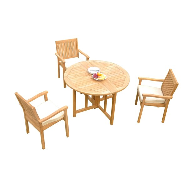 Mashburn 4 Piece Teak Dining Set by Rosecliff Heights